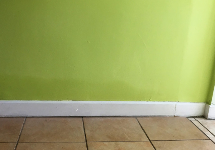 A damp stain can be seen above the line of the skirting board. This pattern of damp staining was noted on most of the walls in the property.