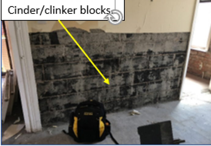 Clinker block wall.